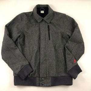 Nike Wool Blend Gray Zip Up Snap Lined Jacket Med